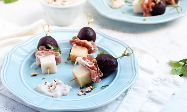 Beet, Pear & Prosciutto Bites With Creamy Maple Pecan Sauce