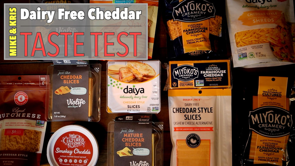 a variety of different brands of dairy free cheeses