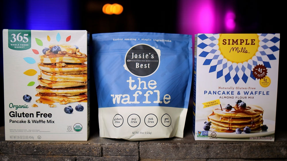 packages of gluten free waffle mix
