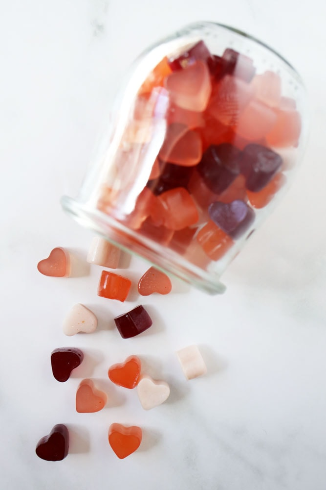 heart shaped gummies in a glass jar