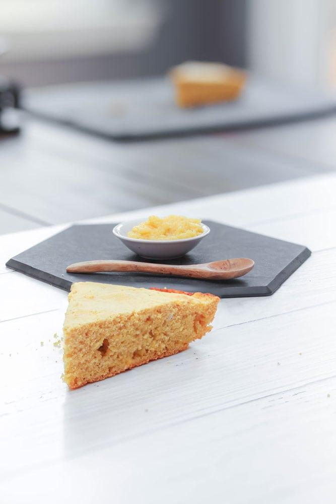 slice of cornbread on a white table