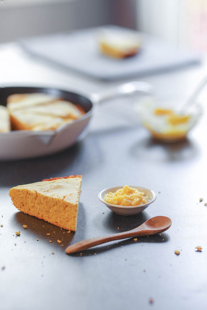 skillet cornbread served with butter